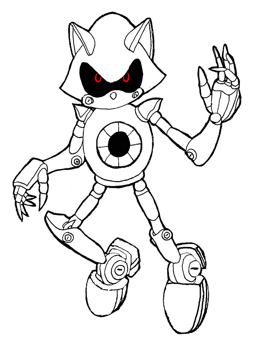 Metal Sonic Coloring Pages Murderthestout