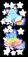 [AUCTION] Adoptable Rainbow-Galaxy Ghosties [CLOS] by Jennlevi