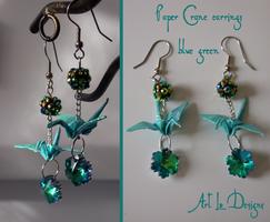 Opalescent Orizuru (green/blue/aqua) sold by ArtLoDesigns