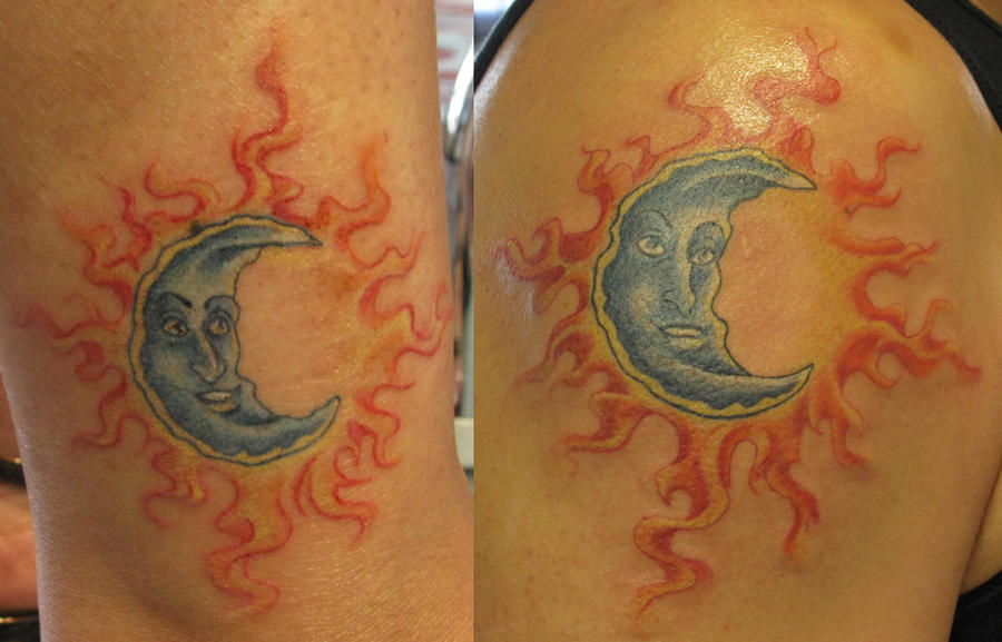 Tattoo ideas by victor hood amorphoto for Sun and moon matching tattoo