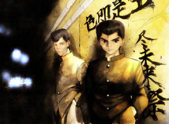 Yusuke and Kuwabara by cazetta