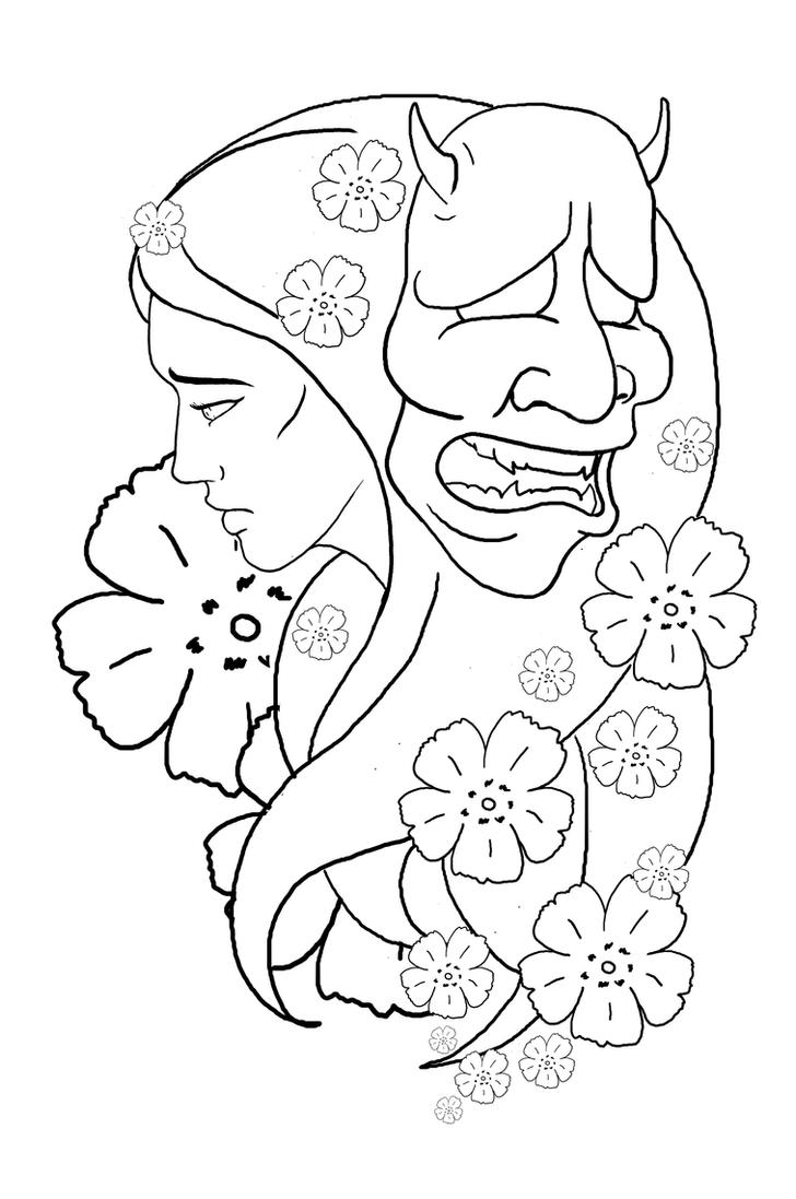 hannya mask tattoo design by ian somers on deviantart. Black Bedroom Furniture Sets. Home Design Ideas