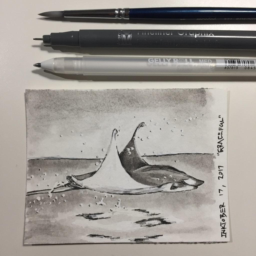 Inktober 17, 2017 'Graceful' by vertseven