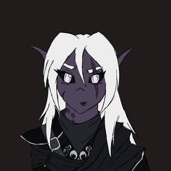 DnD Drow Coloured Sketch Bust by Aliyah-Bawks
