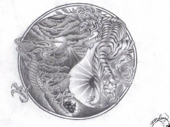 Yin and Yang Tiger Tattoo Designs