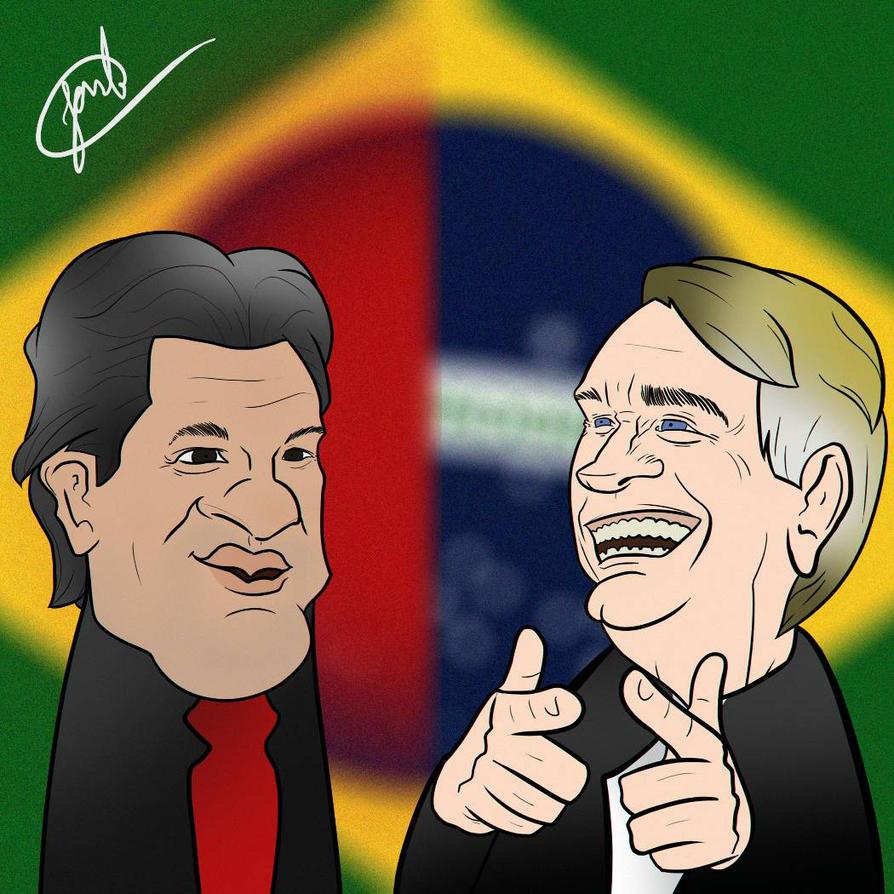 Resultado de imagem para haddad e bolsonaro caricatura