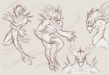 Aquatic beings sketch by Sarcix82
