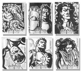 Bayan Knights sketch cards by daverge