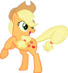 Applejack standing on her hind legs