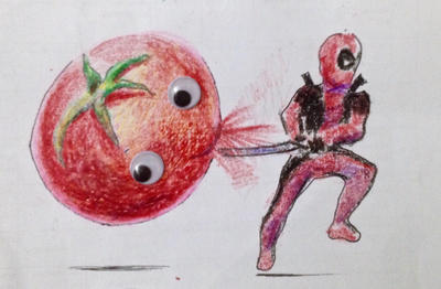 DEADPOOL vs TOMATO by Legallydead