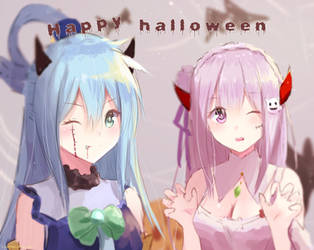 Aqua and Emilia Halloween by LawNielleRIMM