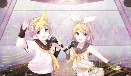 Kagamine RIN and Len Commission Fanart by LawNielleRIMM