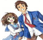 TMOHS: Haruhi and Kyon (fanart)