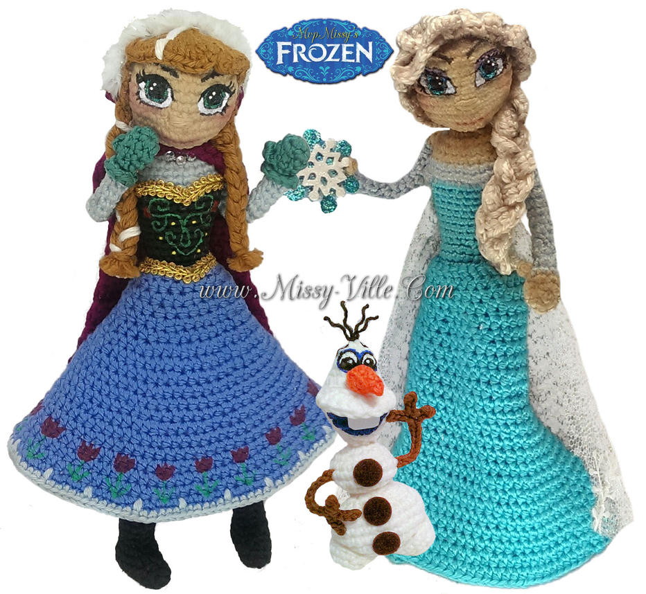 Crochet Elsa Amigurumi : Disneys FROZEN - Elsa, Anna, Olaf Crochet SET by ...