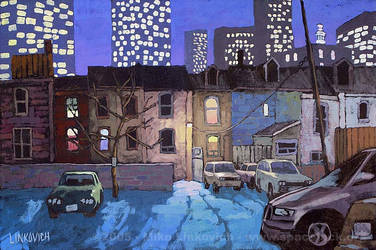 Winter Night Downtown by spacejack