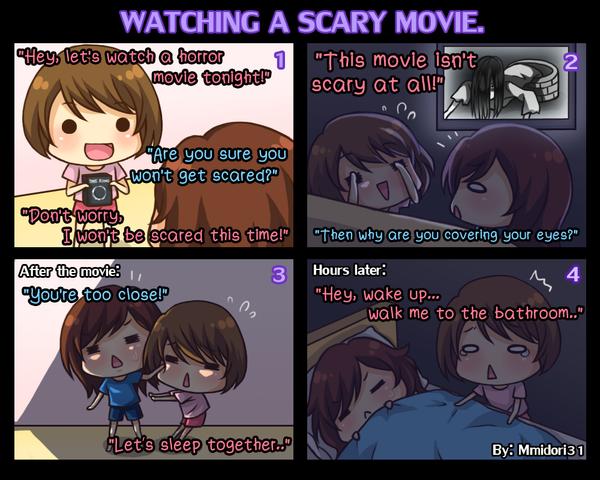 Chibi Reiko #9 - Watching a scary movie. by mmidori31