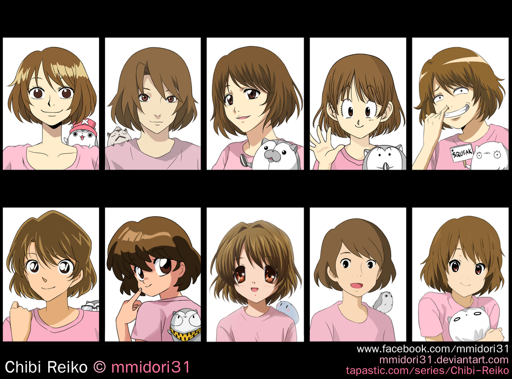 Chibi Reiko in different anime styles by mmidori31