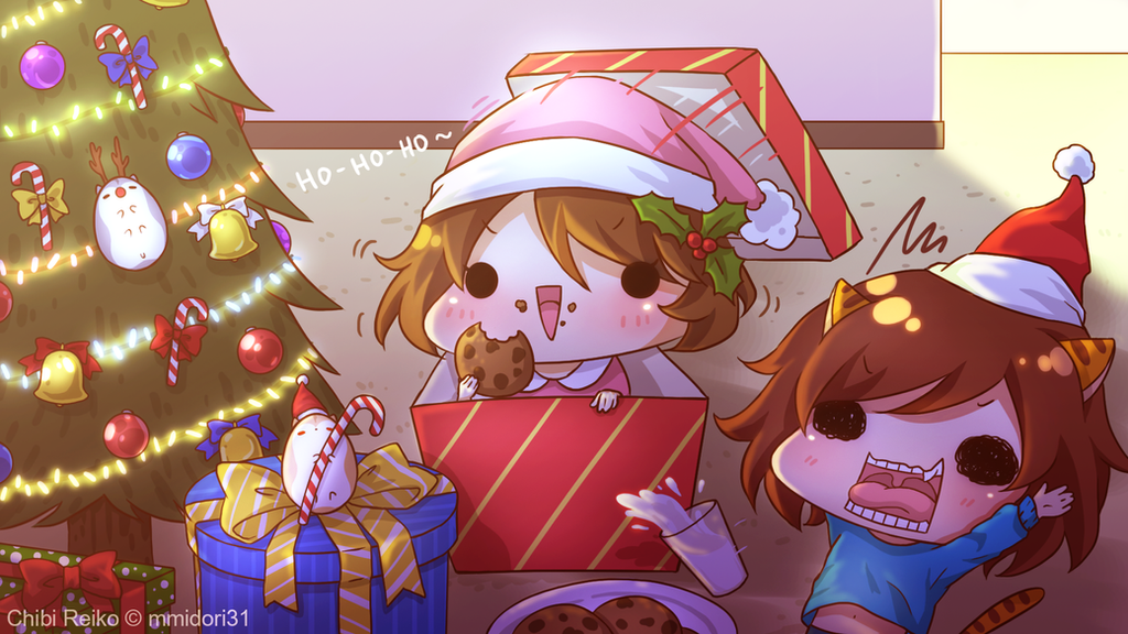 Chibi Reiko Christmas Wallpaper by mmidori31