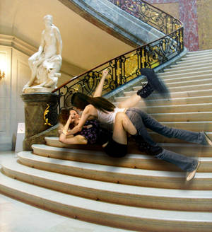 Fight on stairs