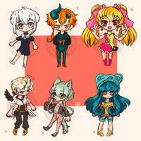 (OPEN 6/6) Chibi Adopts by MelanieShiroNeko