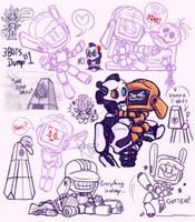 Three Robots Sketch Dump by Juladi-R-Porter