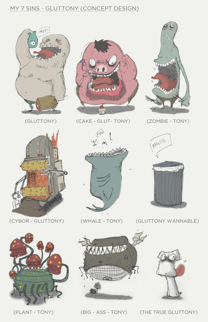 Character Design Kawaii : Cute seven sins gluttony character design by seez on