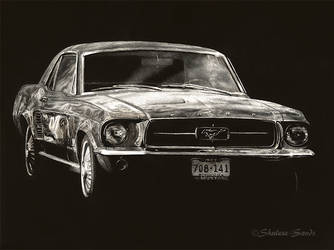 Dad's Mustang - Scratchboard by ShaleseSands