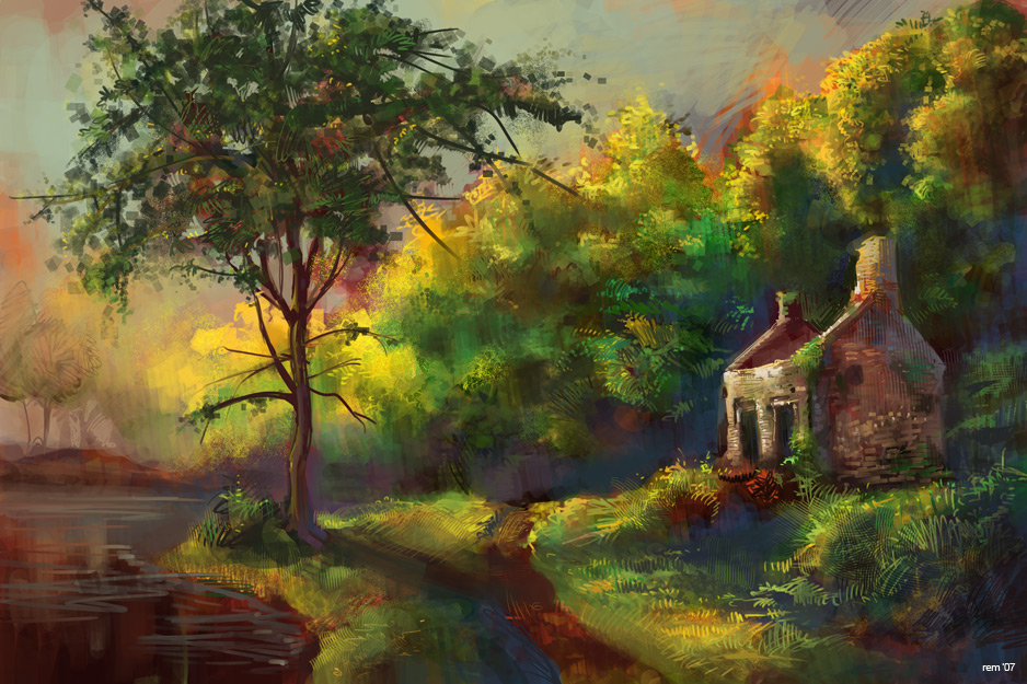 Country cottage painting by remainaery on deviantart
