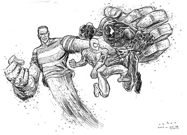 spiderman vs venom vs sandman by azharmaa on DeviantArt