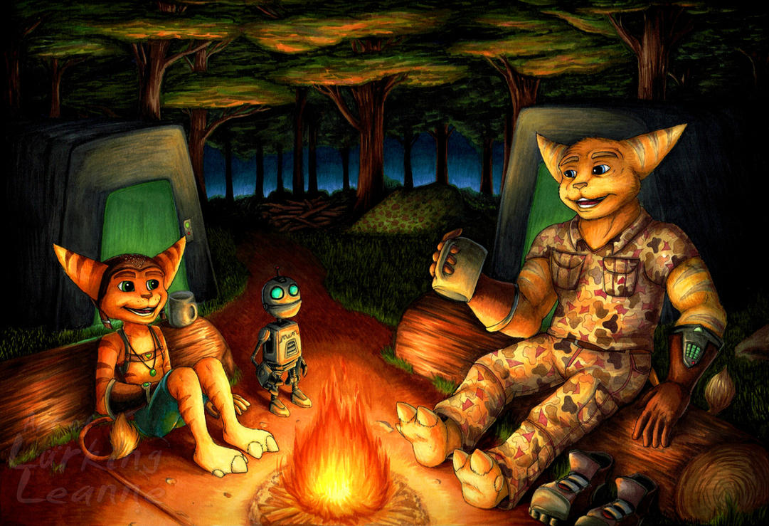 Commission - Out Camping by Lurking-Leanne