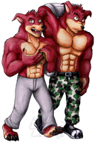 Commission - Burgundy Bros by Lurking-Leanne