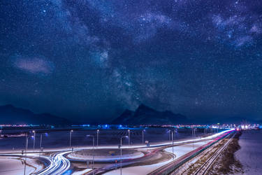 Milky way over highway