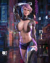Cybergirl in the rain by Naturalman3