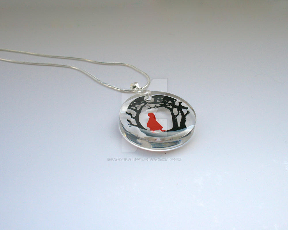 Red Riding Hood Resin Papercut Pendant by ladysilver2267