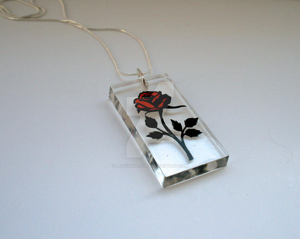 Beauty and the Beast Rose Resin Papercut Pendant by ladysilver2267