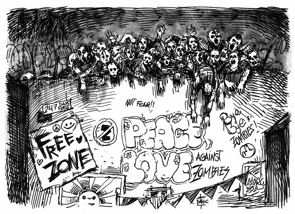 Inktober #4 - 28 days of Zombie Apocalypse by Dumaker
