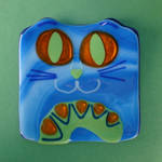 Fused Glass Cat Plate 2