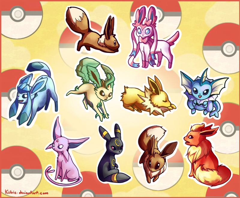 Eeveelutions sticker pack by Kiibie