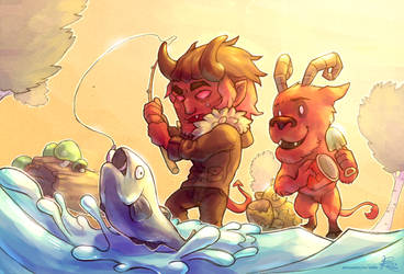 [Commission] Fishing With Wortox by Kiibie