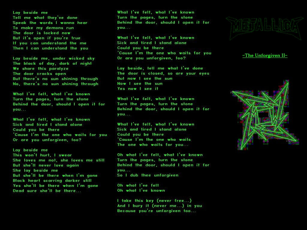 Lyrics of the unforgiven by metallica