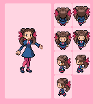 Roxanne Overworld Sprites by joojishibuki