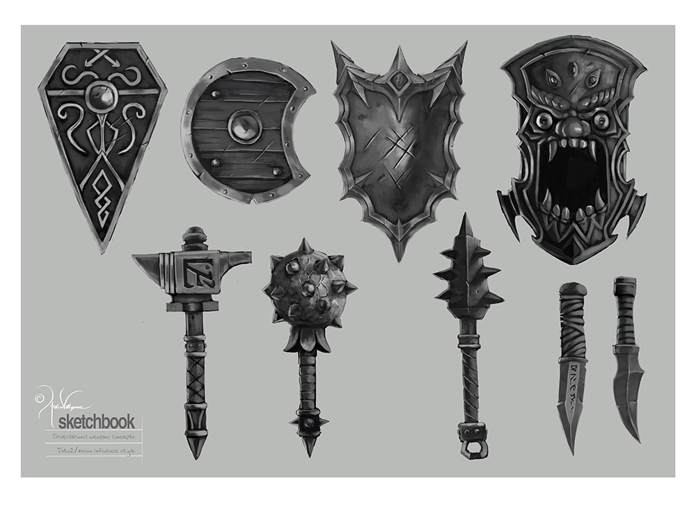 Shields and hand Weapons by churro818 on DeviantArt