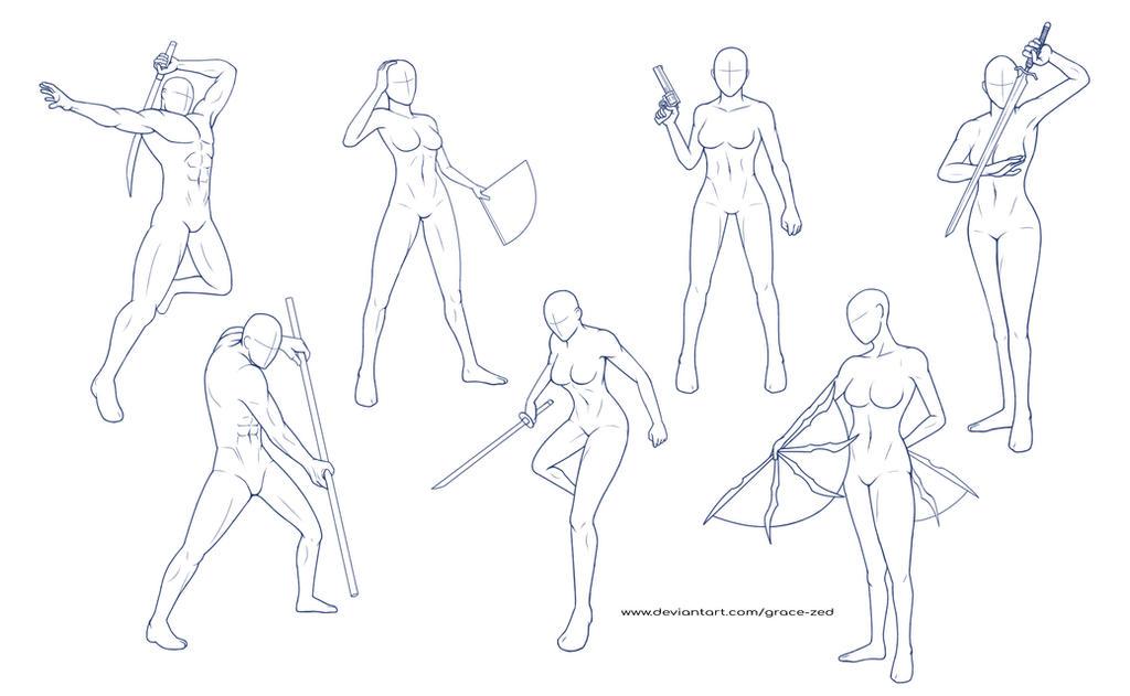 Pose Reference Sheet 2 by Grace-Zed on DeviantArt