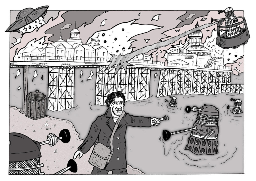 8th Doctor - Daleks Invasion of Eastbourne Pier by mikedaws