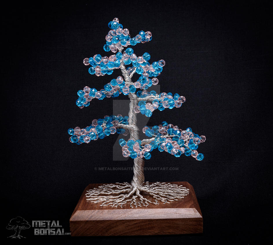 Pink and Blue Crystal Wire Tree Sculpture by Metal by ...