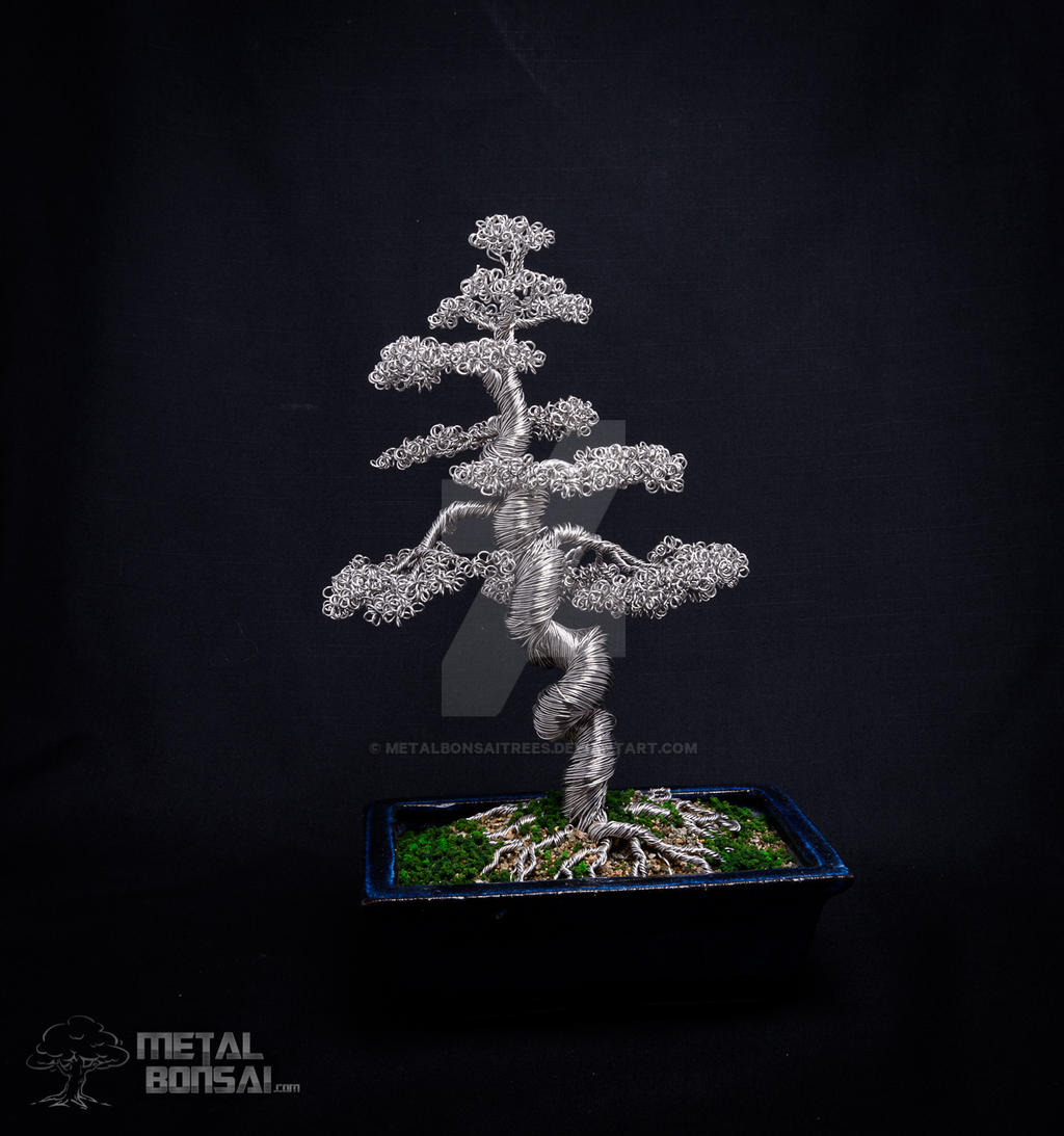 Large Wire Bonsai Tree In Blue Pot By Metalbonsai By Metalbonsaitrees On Deviantart