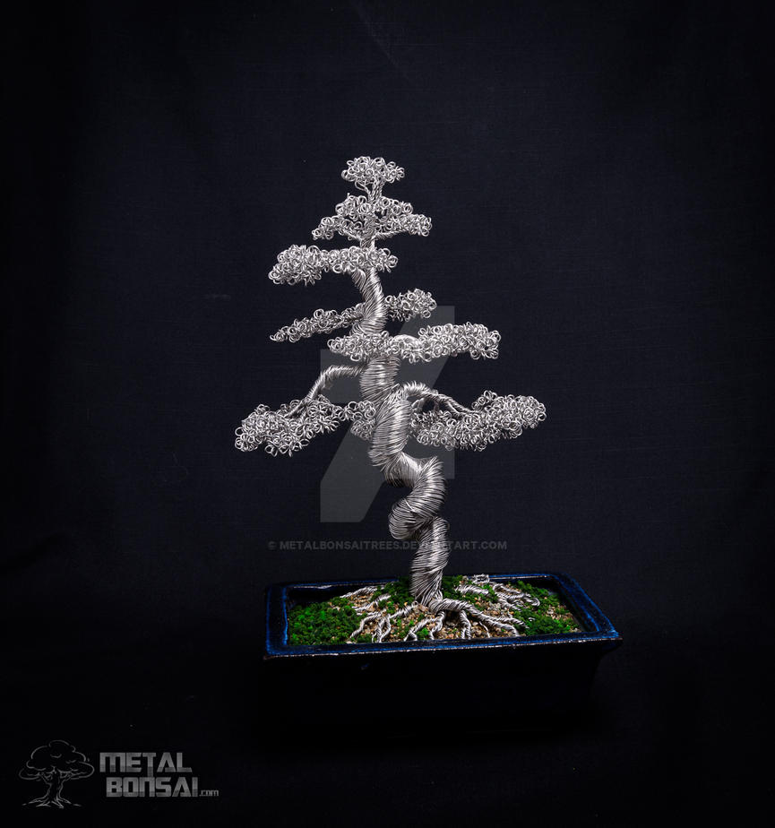 What Does Wiring A Bonsai Do Large Wire Tree In Blue Pot By Metalbonsai Metalbonsaitrees
