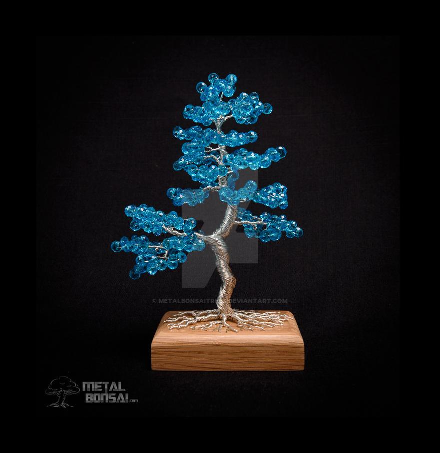 Aquamarine Blue Crystal Bead Wire Tree Sculpture by MetalBonsaiTrees ...