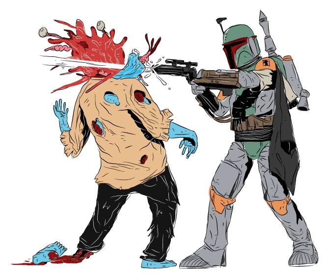 boba fett vs zombies by gogoporen