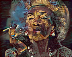 Old Lady Smoker by zuzugraphics